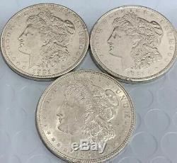 1921-P, 1921-D, 1921-S MORGAN 90 % SILVER DOLLARS. CH/GEM BU High Grade Set