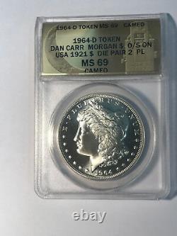 1964-D Proof Like Cameo Morgan Dollar Daniel Carr Moonlight ANACS MS69 Cameo