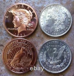 1-1921 SILVER MORGAN DOLLAR+1oz 1921 PEACE DESIGN. 999 FINE COPPER BULLION ROUND