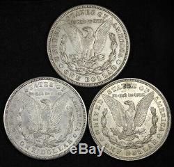 (3 PC LOT) 1921 P D S Morgan Silver Dollar XF / AU 90% SILVER! FREE SHIPPING d