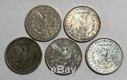 A Lot of 5 Circulated $1 Pre 1921 Morgan Silver Dollars