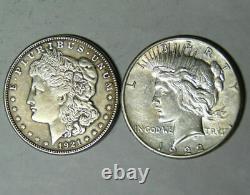 Bulk Lot (2 Coin) 1921 Morgan Silver Dollar 1922 Peace 90% Eagle Rev Bullion