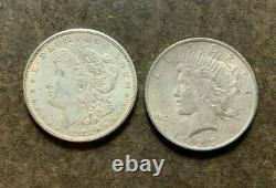 Bulk Lot (2 Coin) 1921 Morgan Silver Dollar 1923 Peace 90% Eagle Rev Bullion
