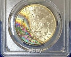CAC 1885-O Morgan Dollar PCGS MS64 CAC Ultra Vibrant Colorful Rainbow Toned
