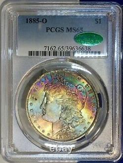 CAC 1885-O Morgan Dollar PCGS MS65 CAC Vibrant Colorful Rainbow Toned Gem