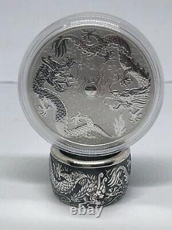 Coin Ring hand made Morgan Silver Australia Dollar 1oz Double Dragon Size 7-18