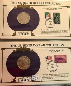 Complete 35 Morgan, Peace Silver Dollar/Stamp Set US Postal Society-Best on Ebay
