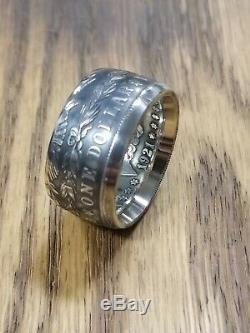 GENUINE U. S. MORGAN DOLLAR Silver Coin Ring 90% Silver Handmade Sizes 9-14
