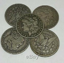 Lot of 5 1878-1904 Morgan Silver Dollars $5 Face 90% VG-F 1/4 Roll