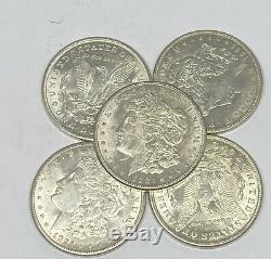 Lot of 5 1921 Morgan Silver Dollar Last Year 90% $1.00 AU Almost Uncirculated