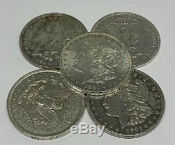 Lot of 5 1921 Morgan Silver Dollar Last Year 90% $1.00 Bullion Polished