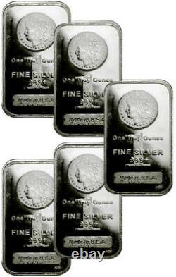 Lot of 5 1 Troy oz Silver Bars. 999 Fine Morgan Dollar Design SKU29507