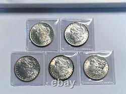 Lot of 5 BU 1878- 1904 $1 Morgan Silver Dolllars, Pre 1921, Mixed Dates & Mints