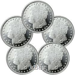 Lot of 5 Morgan Dollar Design 1 oz. 999 Silver Rounds SKU31047