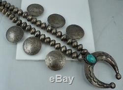 Navajo Morgan Dollar Mercury Dime Turquoise Pawn Squash Blossom Sterling Silver