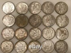 ROLL- (20 coins)- MORGAN SILVER DOLLAR COIN LOT 1882-O and one 1890-S