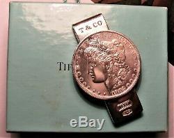 Rare Tiffany & Co. 1837 Sterling Silver Morgan Dollar Money Clip + Box & Bag