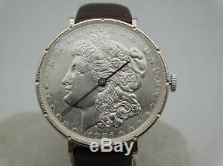 Sterling Silver 1921 Morgan Silver Dollar Coin Watch Swiss Quartz Movement. 38mm