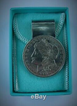 TIFFANY & CO. STERLING SILVER 1921 MORGAN DOLLAR MONEY CLIP + Box & Bag