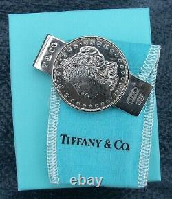 TIFFANY & Co 1837 Sterling Silver Morgan Silver Dollar Money Clip + BOX & POUCH