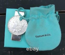 TIFFANY & Co Sterling Silver 1898 Morgan Silver Dollar Money Clip + BOX & POUCH
